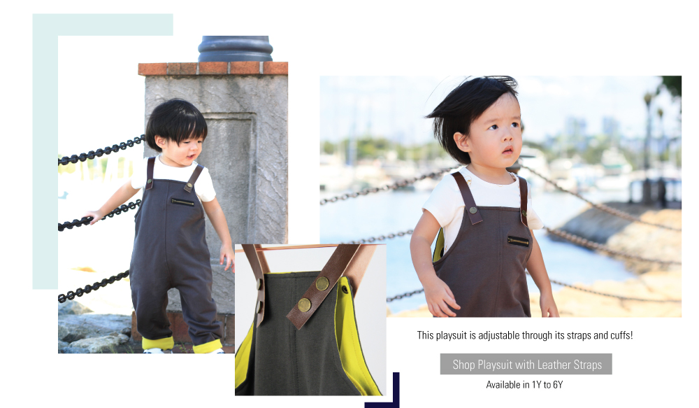 Le Petit Society Basics Collection Leather Playsuit