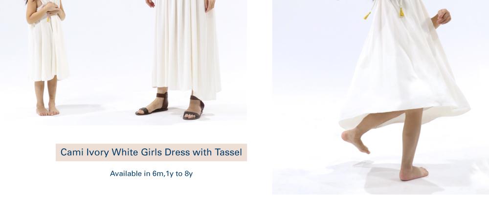 Shop Cami Ivory White Girls Dress with Tassel