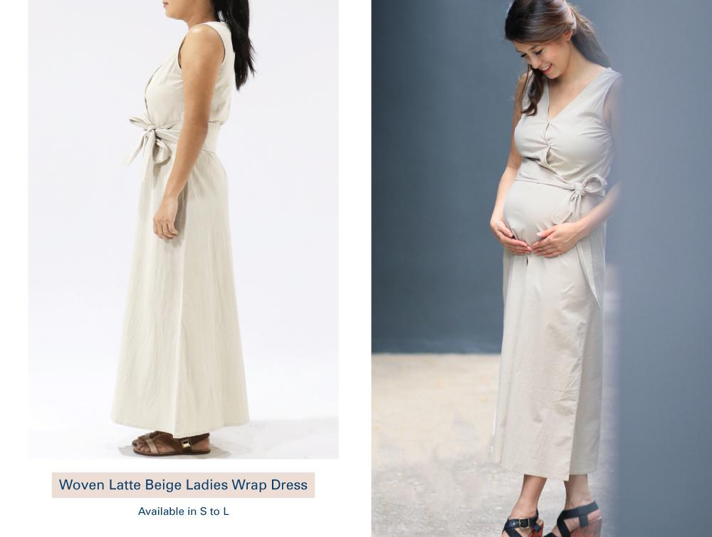 Shop Woven Latte Beige Ladies Wrap Dress