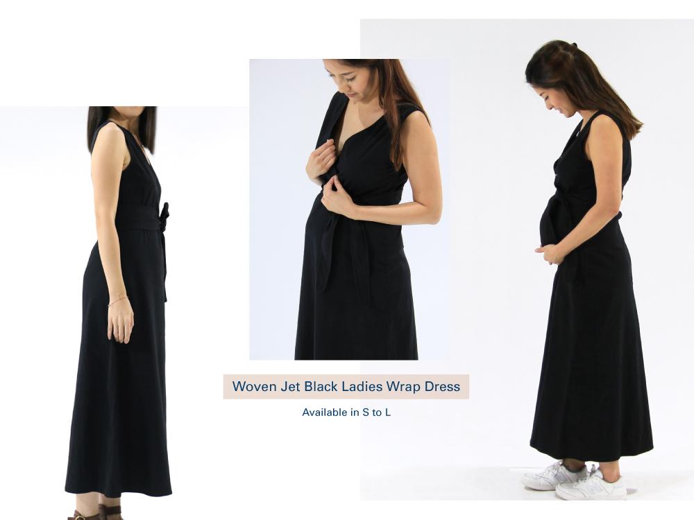 Shop Woven Jet Black Ladies Wrap Dress