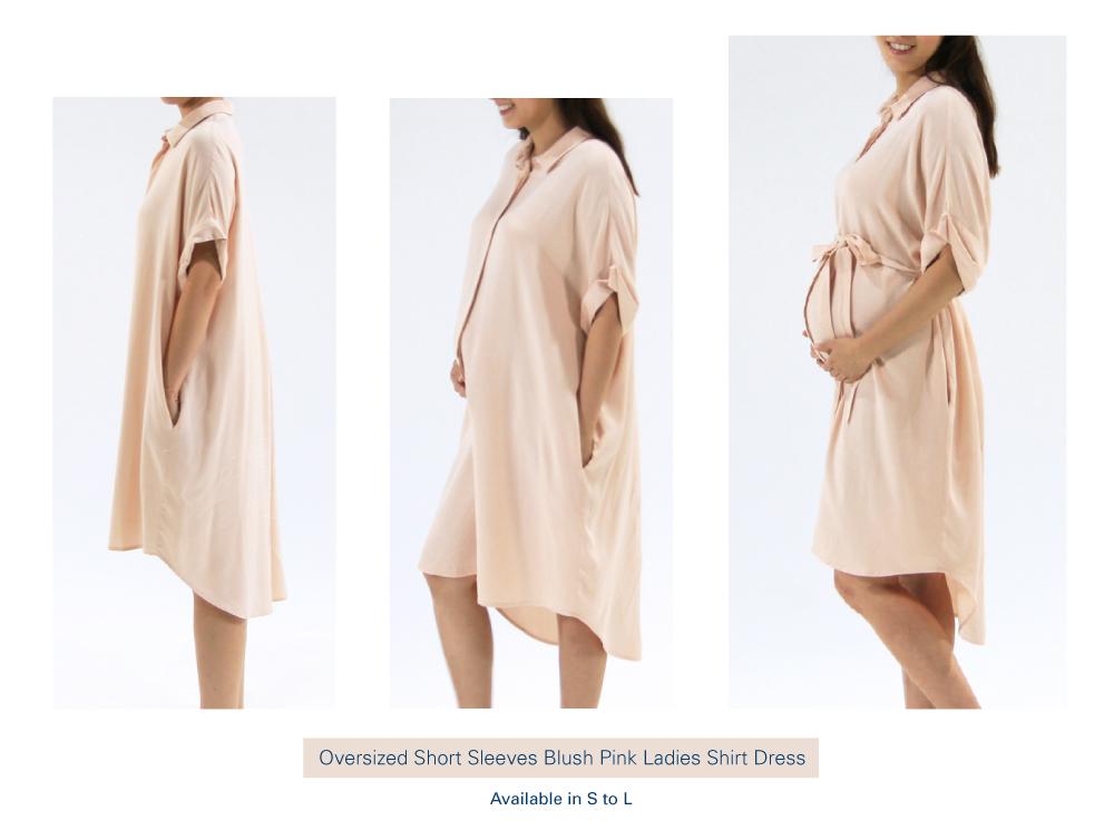 Shop Oversized Short Sleeves Blush Pink Ladies Shirt Dress