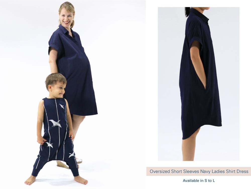 Shop Oversized Short Sleeves Navy Ladies Shirt Dress