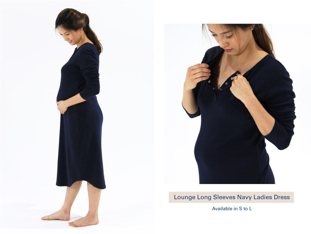 Shop Lounge Long Sleeves Navy Ladies Dress