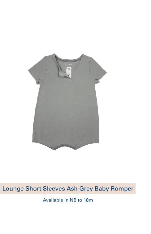 Shop Lounge Short Sleeves Ash Grey Baby Romper