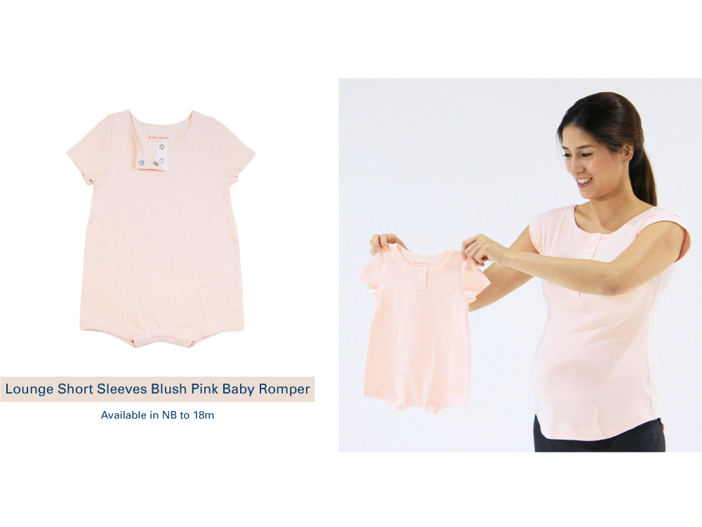 Shop Lounge Short Sleeves Blush Pink Baby Romper