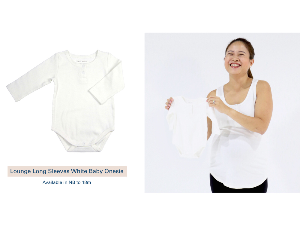 Shop Lounge Long Sleeves White Baby Onesie