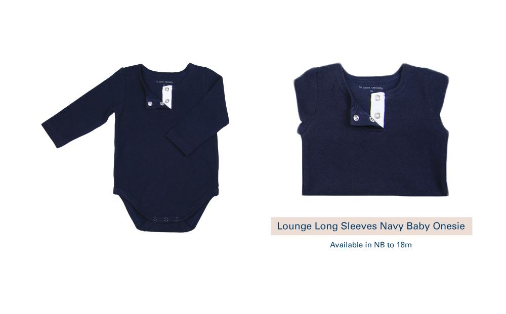 Shop Lounge Long Sleeves Navy Baby Onesie