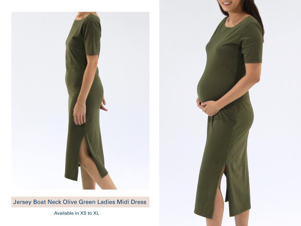 Shop Jersey Boat Neck Olive Green Ladies Midi Dress