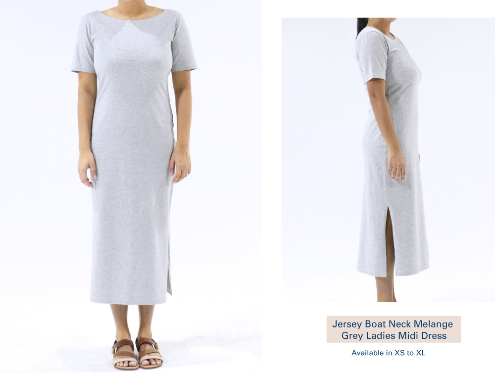 Shop Jersey Boat Neck Melange Grey Ladies Midi Dress