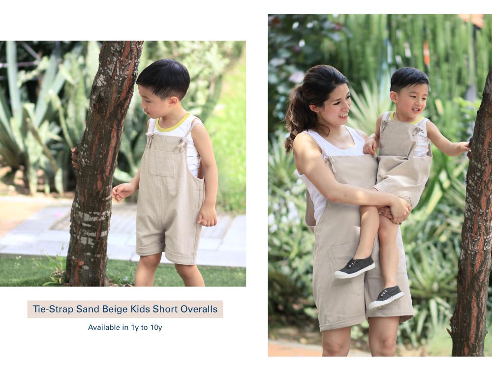 Shop Tie-Strap Sand Biege Kids Short Overalls