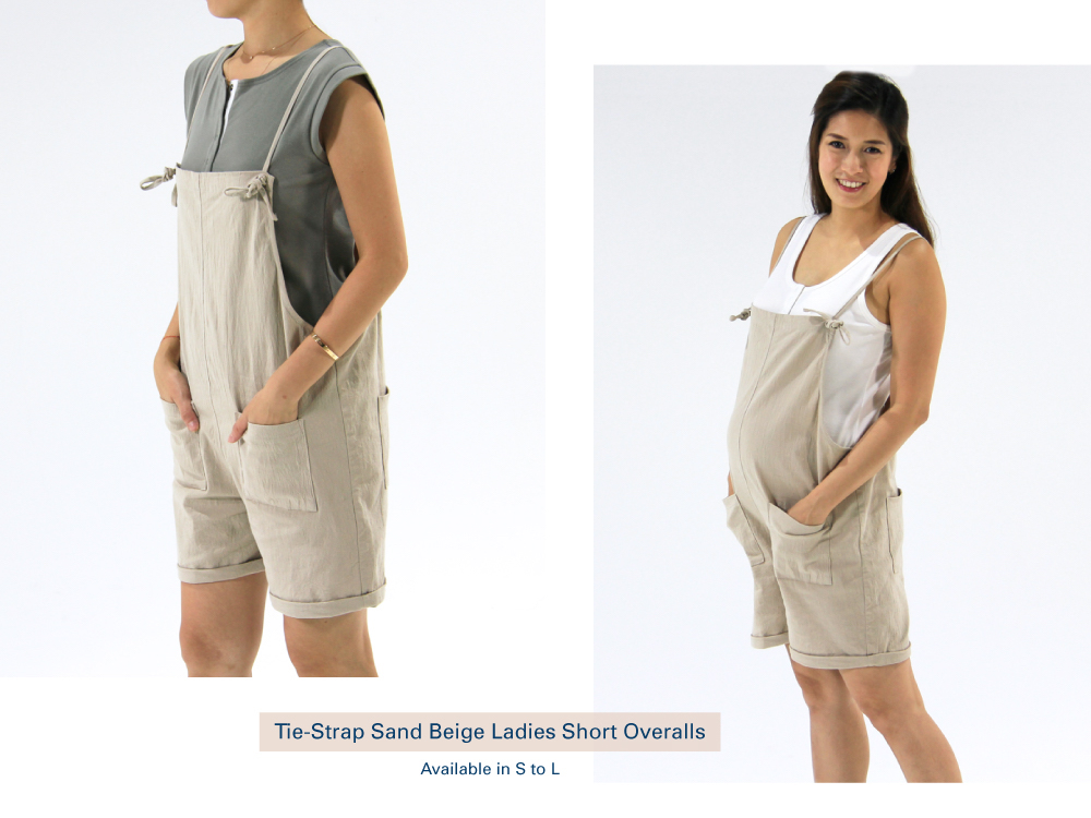 Shop Tie-Strap Sand Biege Ladies Short Overalls