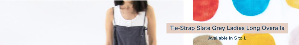 Shop Tie-Strap Slate Grey Ladies Long Overalls